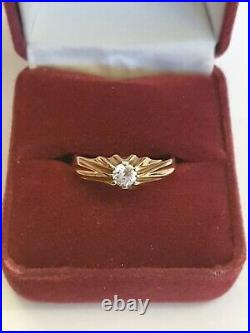 Vintage 9ct gold Gypsy Solitaire Style men's ring stone set hallmarked size S