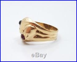 Vintage 9k Yellow Gold 375 Garnet Dual Snake Mens Ring Size 8.75