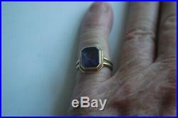 Vintage Amethyest Intaglio 14k Gold Seal Signet Mens Ring
