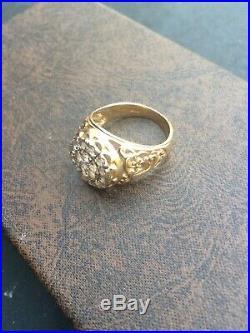 Vintage Antique 10k Gold Yellow & White Men's Ring 8 Grams (size 11)