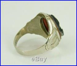 Vintage / Antique Art Deco 10k White Gold Men's Roman Soldier Cameo Ring Size 10