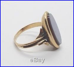 Vintage Antique Art Deco Mens Ladies 14k Yellow Gold Flat Face Ring Size 7