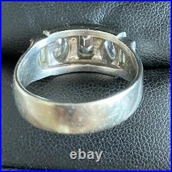 Vintage Antique Mens Deco 1.65ct Diamond Platinum Ring 14K White Gold