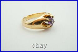 Vintage Antique Victorian 1/10 14k Yellow Gold Shell Amethyst Mens Ring Size 9