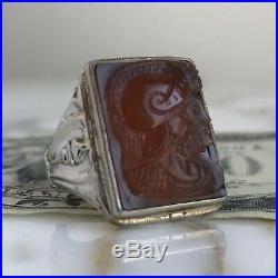 Vintage Art Deco 10K Gold+Carnelian Dbl Soldier CAMEO Men's RING-13.2g-Sz 7.5