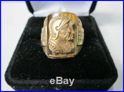 Vintage Art Deco 10K Gold Double Cameo Roman Head Tiger Eye Men's Ring Size 10.5