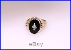 Vintage Art Deco 10K Yellow Gold Black Onyx Diamond Men's Ring