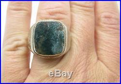 Vintage Art Deco 10k White Gold Moss Agate Mens Estate Ring Sz 9.5