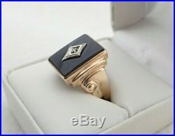 Vintage Art Deco 10k Yellow Gold Diamond & Black Onyx Mens Ring Sz 10.75