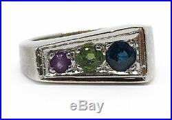 Vintage Art Deco 14K Solid White Gold Natural Sapphire Mens Pinky Ring Size 6.5