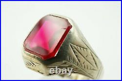 Vintage Art Deco 14k White Gold Handmade Etched Synthetic Ruby Men's Ring Sz 10