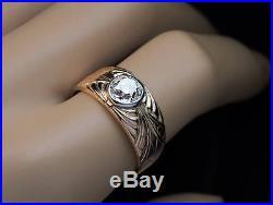 Vintage Art Deco 1.28 Ct Diamond Carved Gold Mens Ring