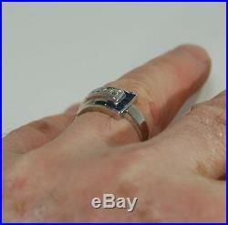 Vintage Art Deco Buckle Ring 14k white gold Diamond, Sapphire mans, ladies band