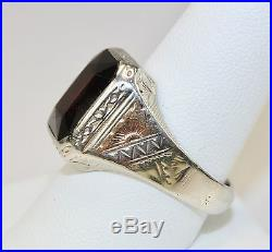 Vintage Art Deco Era Mens Ring 10K 14K White Gold 7.7 Carats Garnet Sz10 c1930s