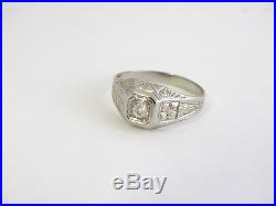 Vintage Art Deco Mens 18k White Gold Old Mine Cut Diamond Ring. 35 Ct Sz 9.25
