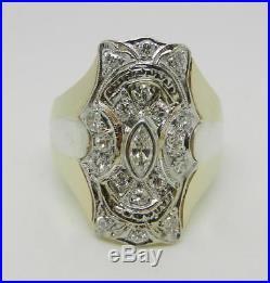 Vintage Art-deco Style 14k Two-tone Gold Mans Diamond Ring Size 10 Lb2949
