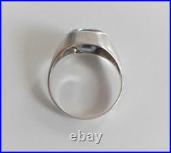 Vintage Awesome Solid 935 Silver Fancy Cut Tourmaline Men's Unique Ring