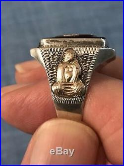 Vintage Bear Headdress Man Aztec Inca Sterling Mexico Men's Biker Ring Size 11