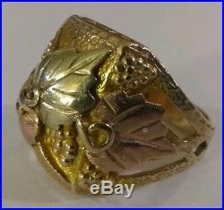Vintage Black Hills Gold Men's Ring Size 91/2, 10 Grams Black Hills Gold Leaves