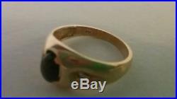 Vintage Black Star Sapphire Diamond 14K Yellow Gold Ring Men/Women Size sz. 9