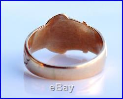 Vintage British Men Belt Ring solid 9K Gold Size 9.75US / 5gr