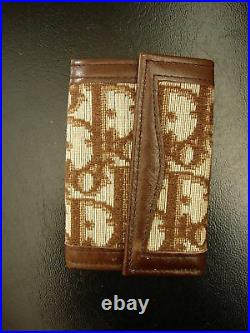 Vintage CHRISTIAN DIOR Key Wallet Ring chain Accessory RARE Brown CD Monogram