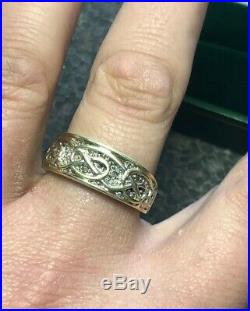 Vintage CHUNKY MEN'S 9ct Yellow Gold Diamond Ring Fully Hallmarked