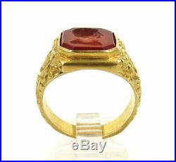 Vintage Carnelian Gemstone Intaglio & 14K Yellow Gold Men's Ring Size 11