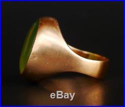 Vintage Danish Ole Lynggaard Men Ring solid 14K Gold Jade Ø9.5 / 10.5gr