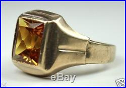 Vintage Deco Mens Ring 10k Yellow Gold 2.5CT Topaz Sz9 c1930s