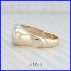 Vintage Diamond Men's Ring 14k Yellow White Gold Size 10.25 Wedding