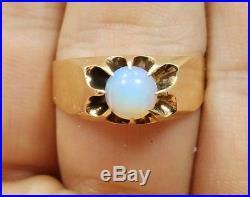 Vintage Edwardian Georgian 10k Yellow Gold 1809 Opal Mens Ring Size 12.25