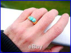 Vintage Egyptian Men Scarab Ring solid 18K Gold Turquoise Ø 8.75 US /7.7gr