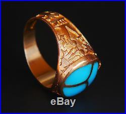 Vintage Egyptian Men Scarab Signet Ring solid 18K Gold Turquoise US 10.5 /11 gr