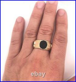 Vintage Egyptian Revival Bloodstone Intaglio 14K Yellow Gold Men's Ring