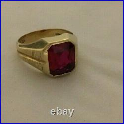 Vintage Esemco 10k Yellow Gold Synthetic Ruby Mens Ring, Free Shipping