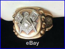 Vintage Estate 10k Gold Diamond Masonic Ring Men's Signed Freemason
