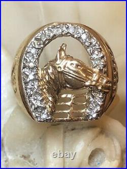 Vintage Estate 10k Gold Diamond Rings Men's Lucky Horse Band 3-d 1960 Signed CM