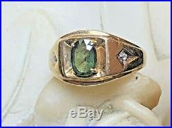 Vintage Estate 10k Gold Green Quartz & Diamond Ring Men's Band Gemstone