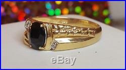 Vintage Mens Ring Vintage Estate 10k Gold Ring Men S Black Onyx Diamond Ring Band Signed Tha