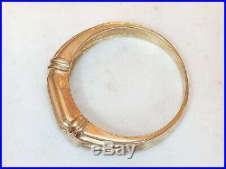 Vintage Estate 10k Yellow Gold Genuine Natural Diamond Men's Band Ring Wedding