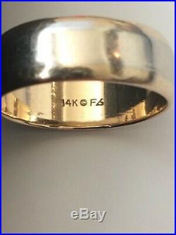 Vintage Estate 14K Gold two-tone Size 10 Mens Wedding Band Ring 7.4 grams