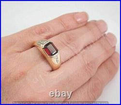 Vintage Estate 14K Yellow Gold Finish Men's 1Ct Garnet and Diamond Pinky Ring