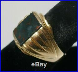 Vintage Estate 14K Yellow Gold Men's Bloodstone Ring Size 8