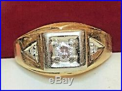 Vintage Estate 14k Gold Diamond Ring Band Men's Jewelry Signed K & S