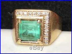 Vintage Estate 14k Gold Genuine Natural Emerald & Diamond Men's Ring 2.3 Cts