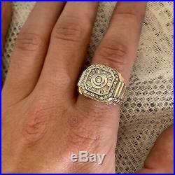 Vintage Estate 14k Solid Two Tone Gold Mens Diamond Ring