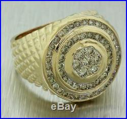 Vintage Estate 14k Solid Yellow Gold 1.67ctw Diamond Men's Chunky Pinky Ring
