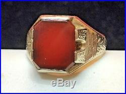 Vintage Estate 14k White Gold Genuine Red Garnet Ring Men's Signed