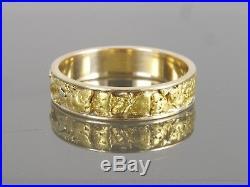 Vintage Estate 14k Yellow Gold Alaskan 18k Gold Nugget Men's Ring Size 15.25